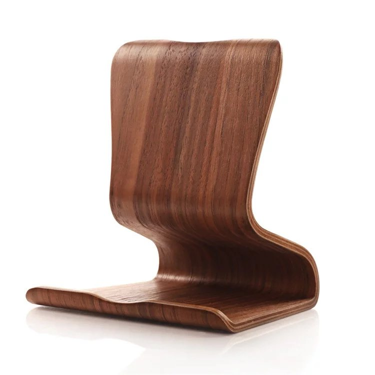 Curved wooden stand for ipad Cell phone