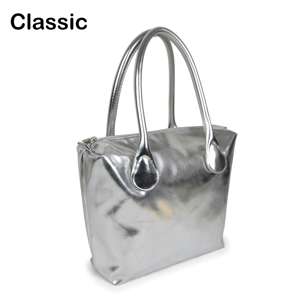 Waterproof Faux PU Leather Silver golden Insert Inner Pocket Plus Handle Combination for Classic Mini Obag O Bag dark blue zippered faux leather handle conference file contract bag container