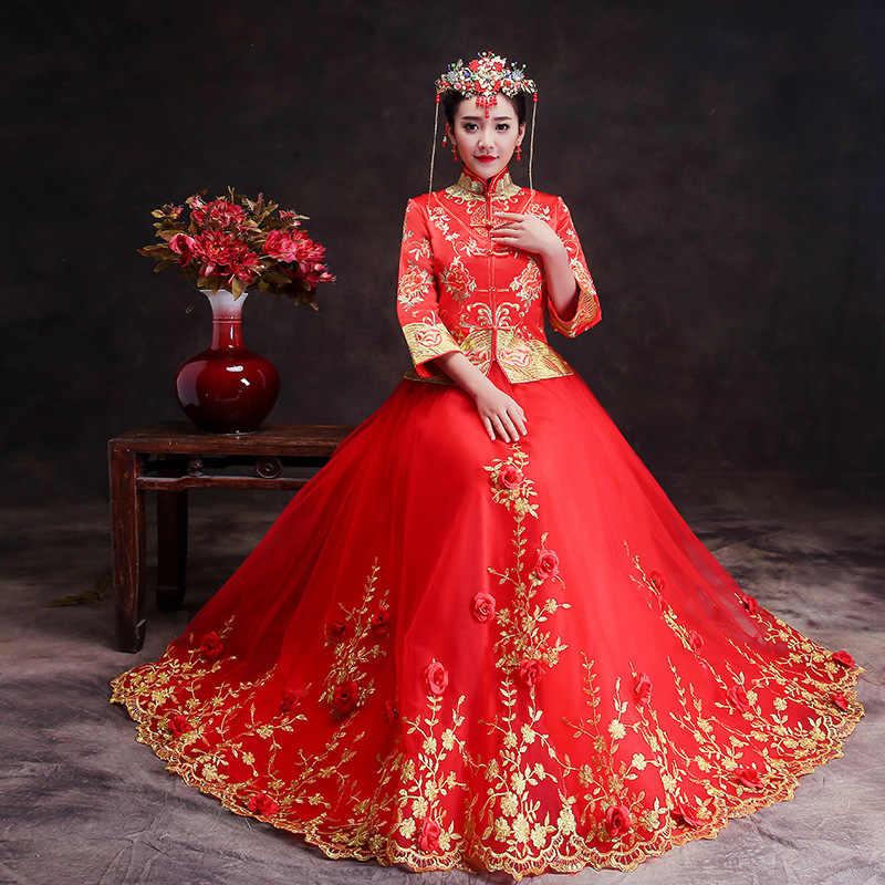 Традиционные платья невесты Cheongsam 2018 новый китайский свадебные женские Для женщин феникс платье с вышивкой современные Qipao красный Восточный платья