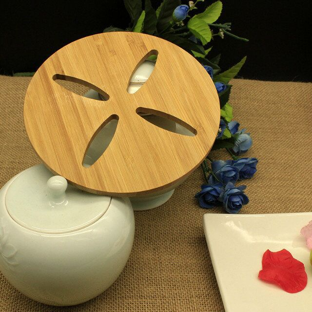 10pcs Set Fashion Wooden Dining Table Mat Round Placemats Insulation Pads Gl M 1669