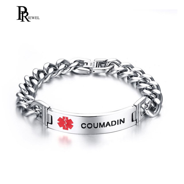 bcf7dfa71d2b8 US $7.69 45% OFF|COUMADIN Medical Alert ID Bracelet Emergency Stainless  Steel Link Chain Wristband -in ID Bracelets from Jewelry & Accessories on  ...