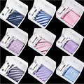 Elegant Man Neck Tie Set Top Ployster Dot Striped Hanky Cufflinks and Tie Clips Set for men Formal Wedding Party Many Colors