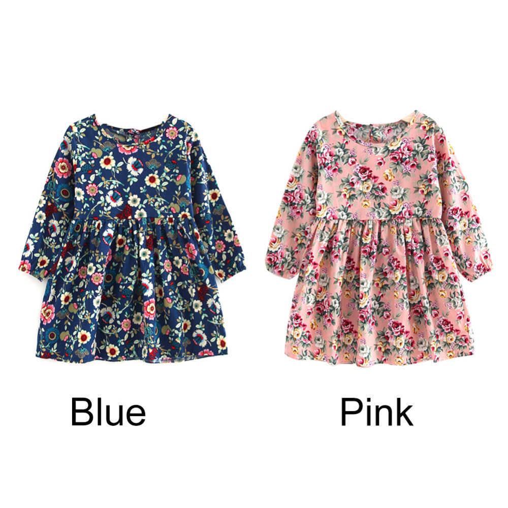 Baby Girl Clothes Pretty Girls Dress Lovely Floral Print Long Sleeve Flower Kids Dress Princess Dresses Spring Autumn 2 Colors red blue kids dresses for girls long sleeve princess dress girls clothes flower bow decortion baby infant girl dress cheep price