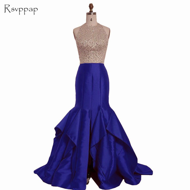 Long   Prom     Dresses   2019 Real Sample Mermaid Style Halter Gold Beaded Sequined Front Slit African Backless Royal Blue   Prom     Dress