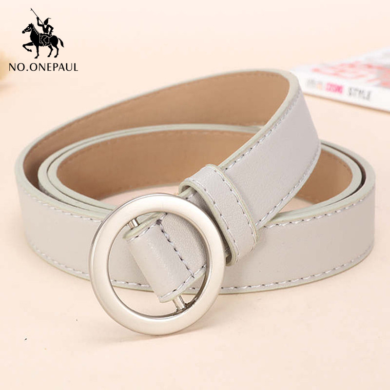 NO.ONEPAUL High Quality Ladies Retro Leather Belt Non-porous Round Pin Buckle Three-dimensional Fashion Buckle Waist Ladie Belt