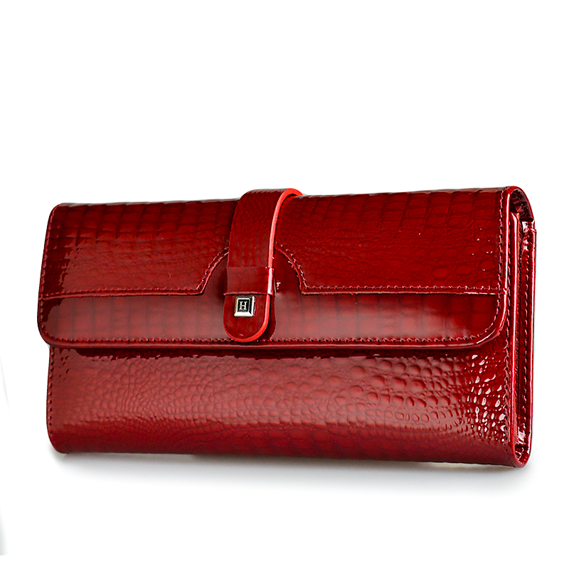 HH Women Long Wallet Ekte Leather Wallets Rød Aligator Pattern Cowhide Pung Tre Fold Large Capacity Clutch Wallet Luxury