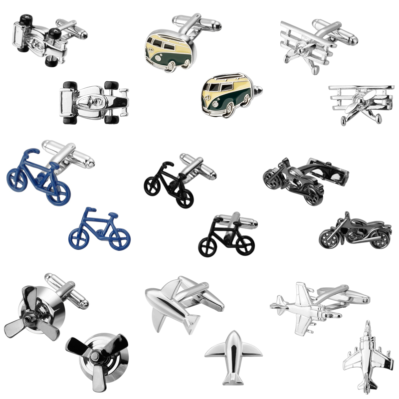 Bicycle Motorcycle Transportation Anchor The Locomotive Wheel Gear Plane Cufflinks 18 Design Men's Shirts Cufflinks