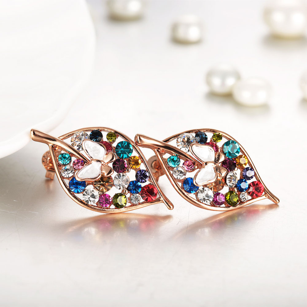 Colorful Austrian Crystal Gold Leaf With Butterfly Stud Earrings Girls  Multi Color Rhinestone Piercing Jewelry Exquisite Brincos-in Stud Earrings  from ... 5b13823474f5