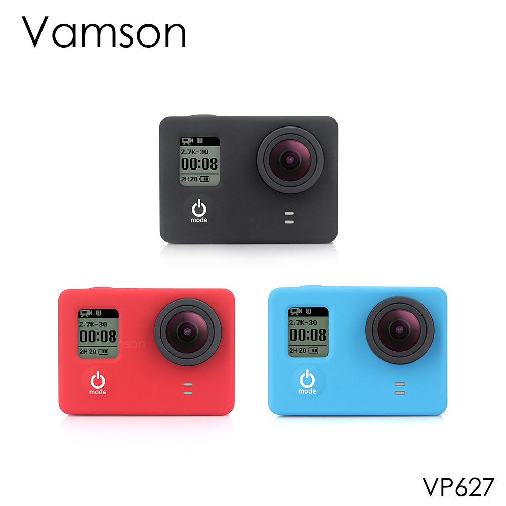 Vamson For Gopro Accessories Silicone 3 Colors Gel Rubber Protective Case Dustproof Skin Cover For GoPro Hero 4 3+3 Camera VP627