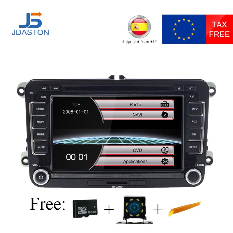 Автомобильный мультимедийный плеер JDASTON для Volkswagen VW Passat B6 CC Polo Golf 4 5 Jetta Caddy T5 Bora Skoda Seat 2Din, радио, DVD, GPS