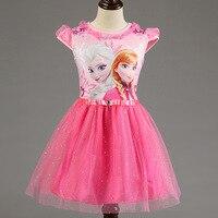 Girl Dress Summer Brand Toddler Girls Clothes Lace Sequins Princess Anna Elsa Dress Snow Queen Halloween