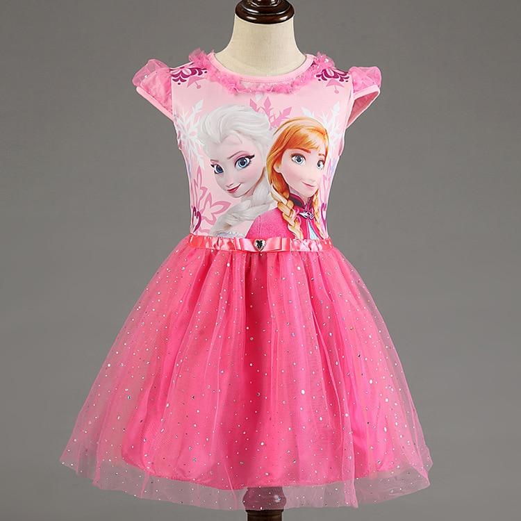 Girl font b Dress b font Summer Brand Toddler Girls Clothes Lace Sequins Princess Anna Elsa