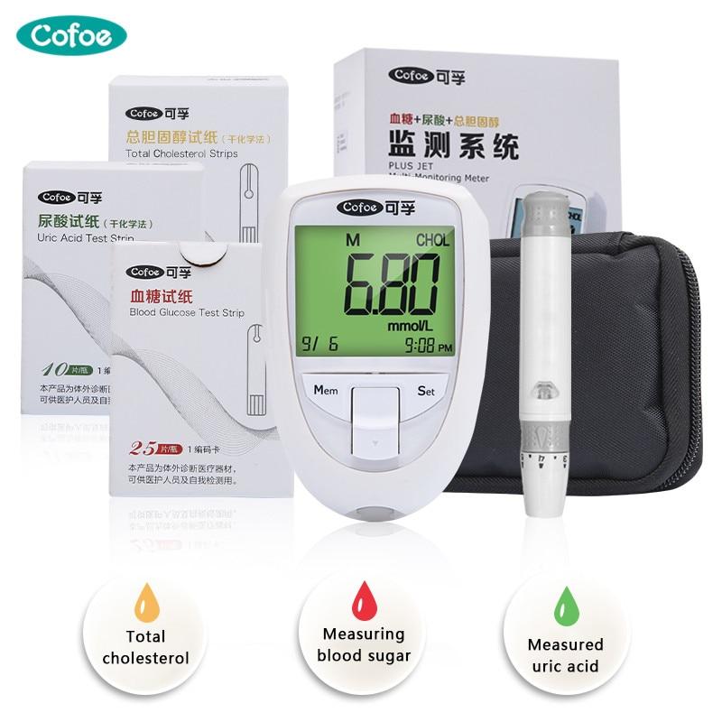 Cofoe 3 dans 1 Lipides Sanguins Sang Glucose Acide Urique Cholestérol Détection Instrument avec Test Strips Home Utiliser Le Diabète La Goutte dispositif