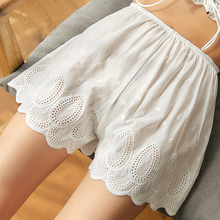 2019 womens summer shorts fashion wild casual loose simple solid color hollow