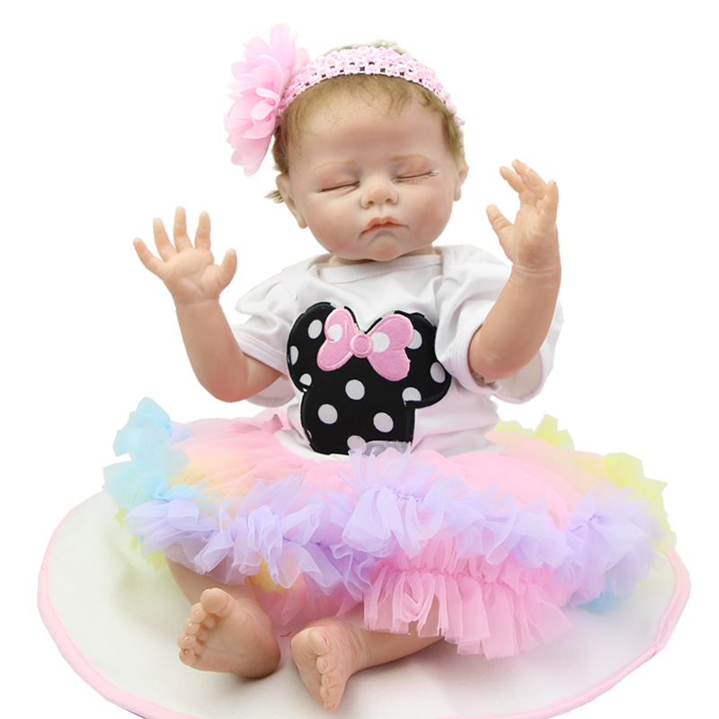 NPK Collection Collectible Sleeping Reborn Baby Doll Boneca Girl Wearing Colorful Dress Children Birthday NewYear Gift