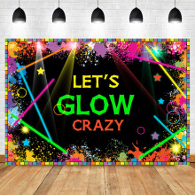 NeoBack Lets Glow Neon Laser Party Photography Backdrops Splatter Graffiti Wall Photo Background Photophone
