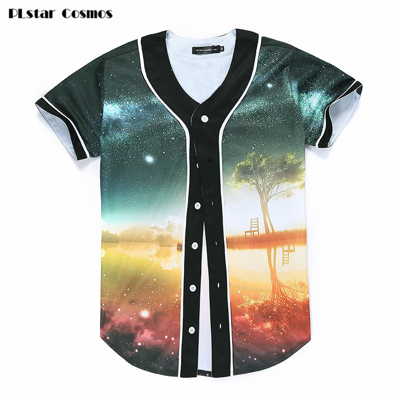 PLstar Cosmos Space Galaxy Button Shirt Men/Women Harajuku Hip hop T-shirt 3d Print Nightfall Tree Summer Tops Baseball Shirt