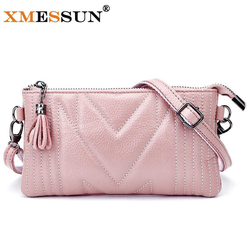 Xmessun merek kulit asli tas messenger kualitas tinggi wanita tas bahu amplop wanita clutch bag kecil crossbody tas l230
