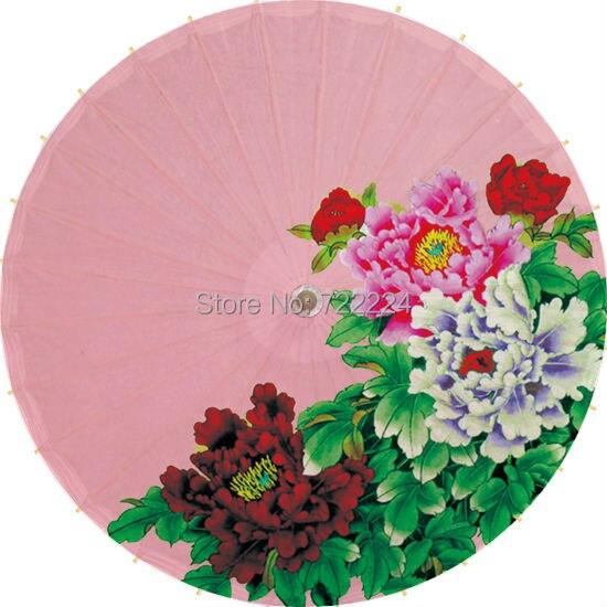 Free shipping chinese classical unique handmade pink background peony oiled paper umbrella decorative rain parasol proumbrella