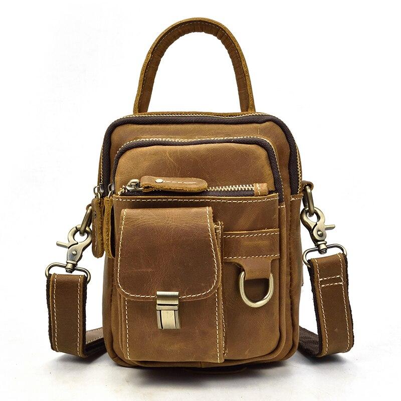 Luufan Mini Handbag Crazy Horse Genuine Leather Men Small Shoulder Bag Cowhide Zipper Pockets Multifunctional Messenger