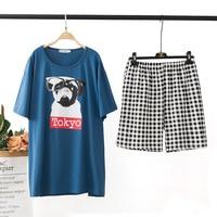 Plus Size 5XL 2pc Set Dog Print Pajamas Women Short Sleeve 100% Cotton Nightwear Summer Home Pijamas