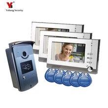 Yobang Security 7″ Color RFID  Video Door Phone Doorbell Video Intercom System 5pcs ID Card Video Intercom 3 Monitor