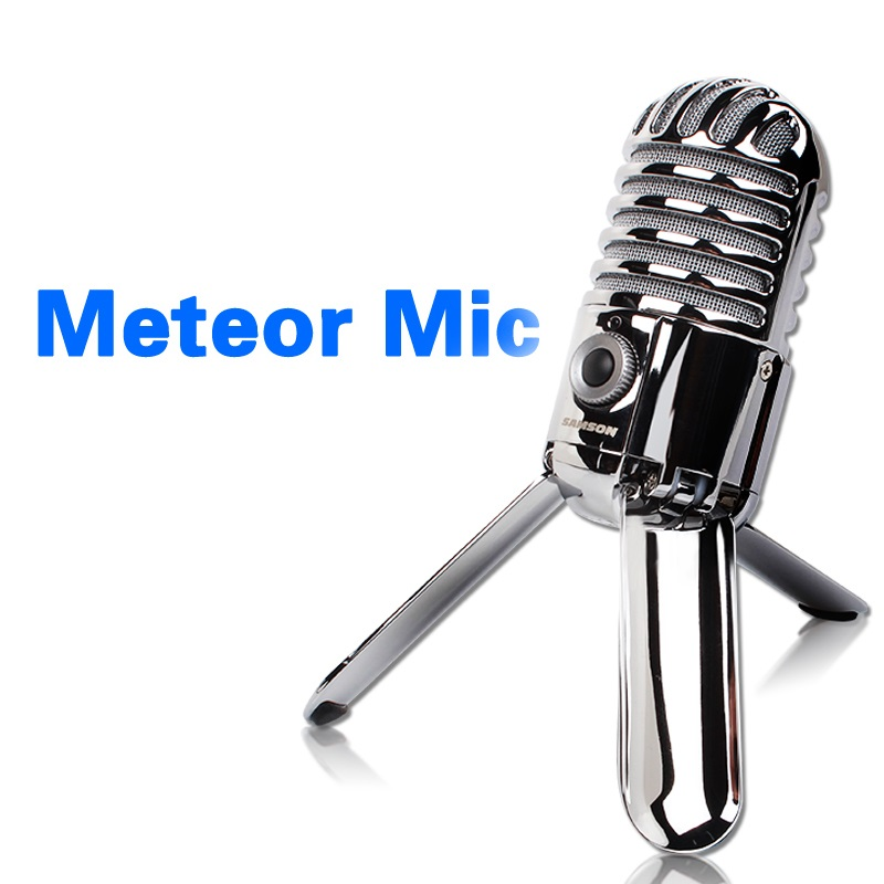 SAMSON Meteor Mic Studio Desktop Recording Condenser Microphone Fold back Legs design with USB cable carrying