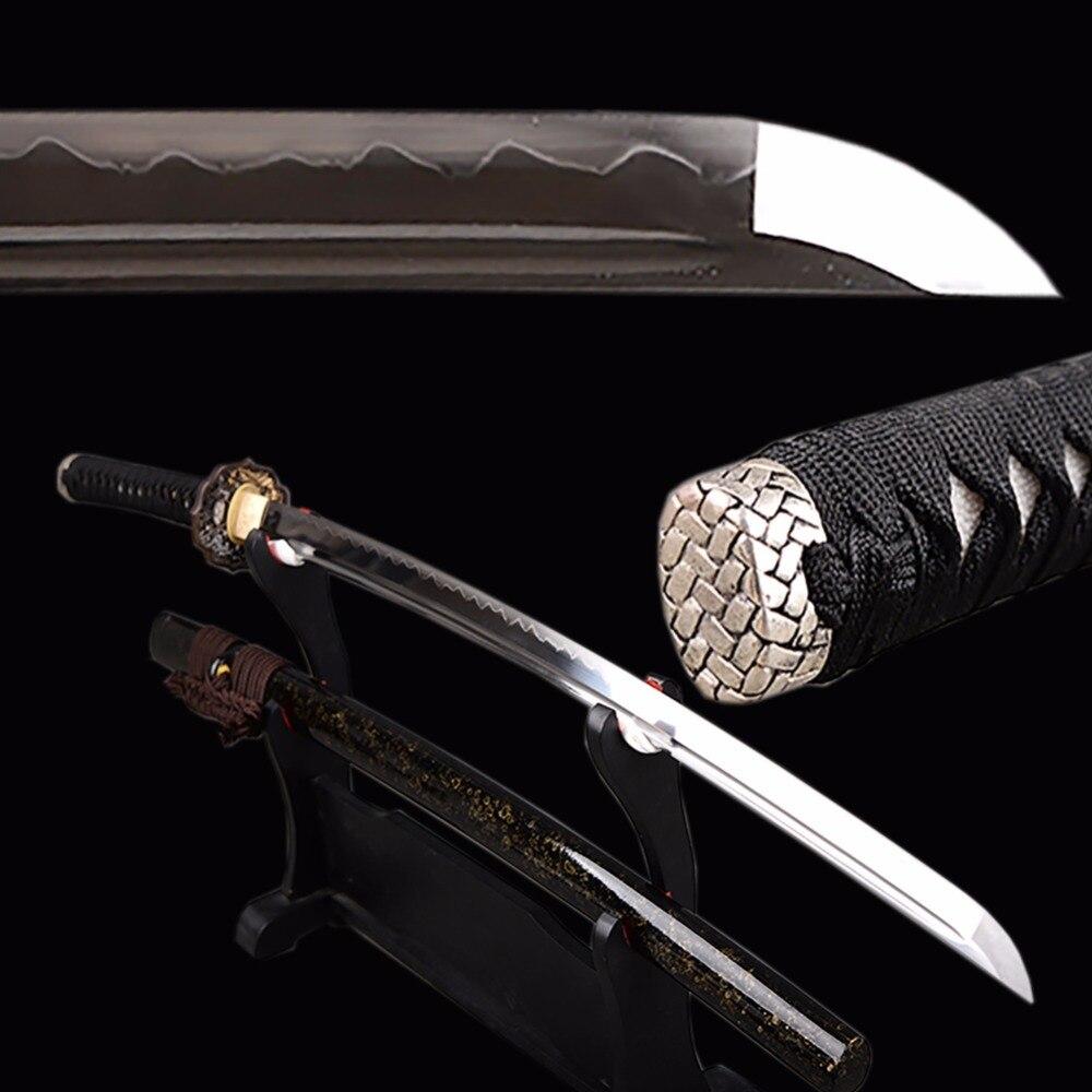Brandon Épées Entièrement fait main Samurai Katana Pleine Saveur Japonaise Épée 1095 Acier Argile Trempé Forte Couteau décoration d'intérieur
