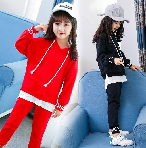 Children Clothing Sets For Girls Spring Autumn Kids Casual Sports Suits Teenage Girl Tracksuits Set 6 8 10 12 Years children clothing sets for teenage boys and girls camouflage sports clothing spring autumn kids clothes suit 4 6 8 10 12 14 year