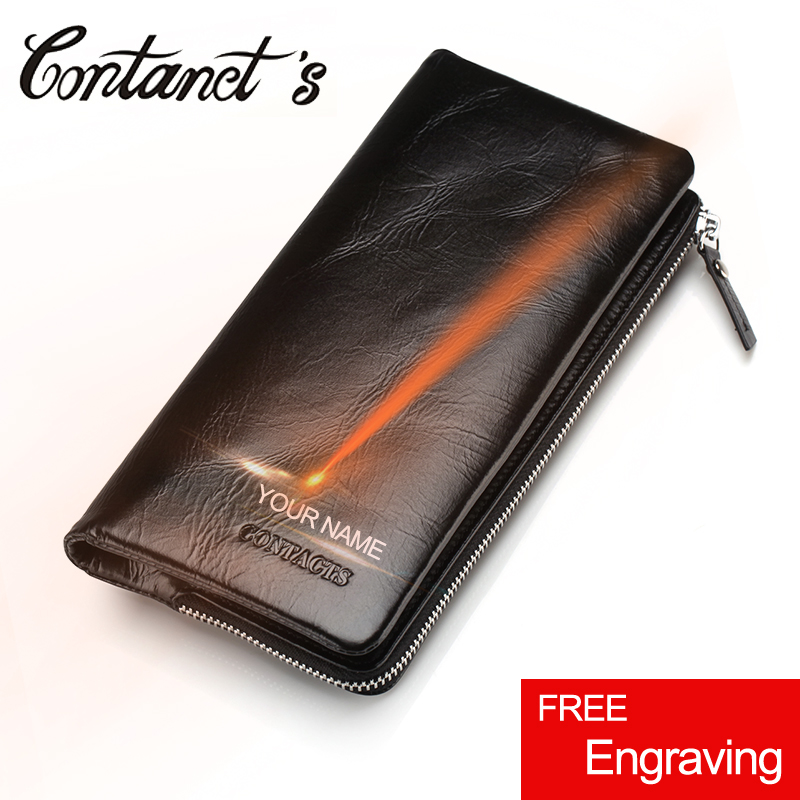 New Cowhide Leather Men Wallet Zipper & Hasp Wallet For Men Fashion Long Phone Wallet Man's Clutch Card Holder Coin Pocket 2018 simline fashion genuine leather real cowhide women lady short slim wallet wallets purse card holder zipper coin pocket ladies