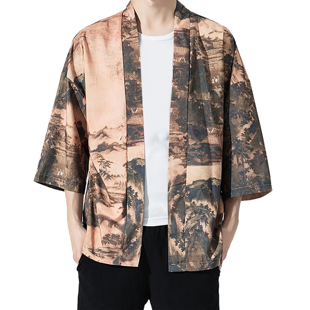 harajuku kimono cardigan 2019 vintage printed outerwear blouse Mens Cardigan Loose Jacket Yukata Coat Baggy Tops Summer 5.13 cardigan