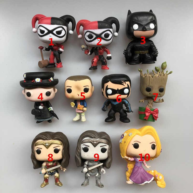 Oryginalny Funko pop używany rycerz nocny Batman Mary jedenaście Wonder Woman roszpunka Harley figurka winylowa zabawka-model do kolekcjonowania