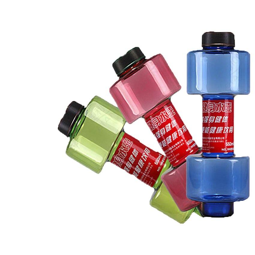 Kullanışlı Kişiselleştirilmiş Dumbbell Kupası Spor Su Şişesi Plastik Bardak Mühürlü Sızdırmaz 550 ml Için Uygun Fitness Spor Şişe