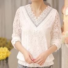 Women's Floral Blouse Long Sleeve White Lace Blusas shirt V-neck Casual Patchwork Ladies Tops Casual Woman Shirt Print M-2XL