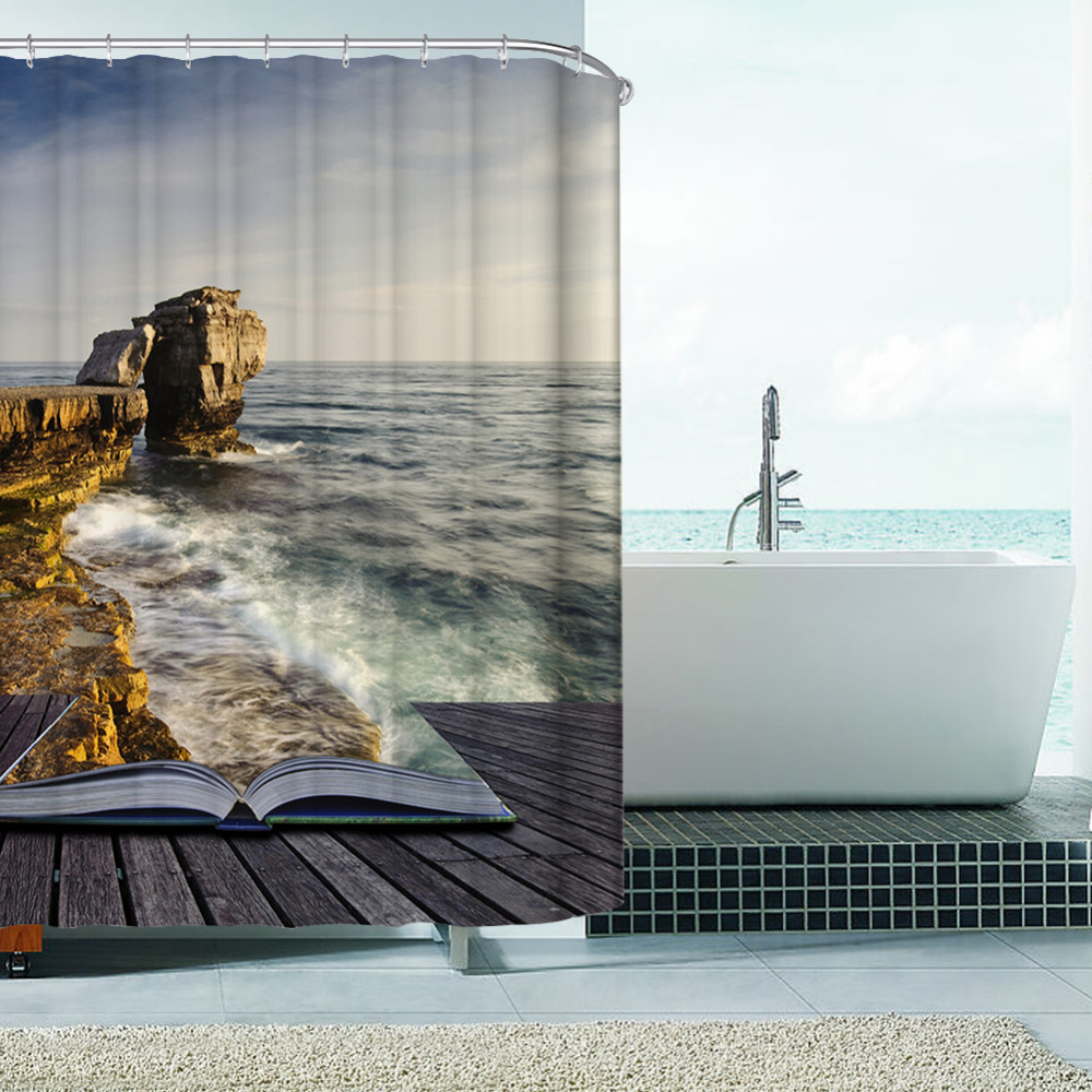 Modern Ocean Scene Waterproof Shower Curtain Bathroom Products ...
