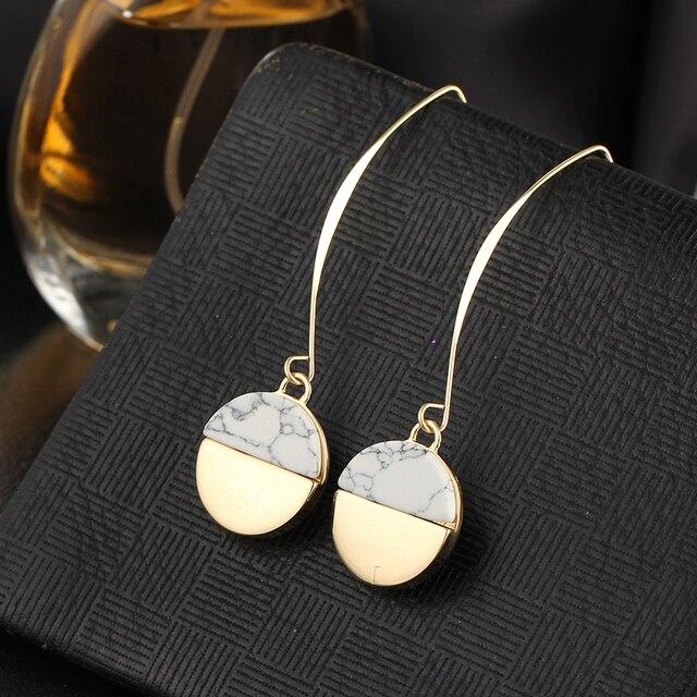 Steampunk Vintage White Stone Long Pendant  Earring