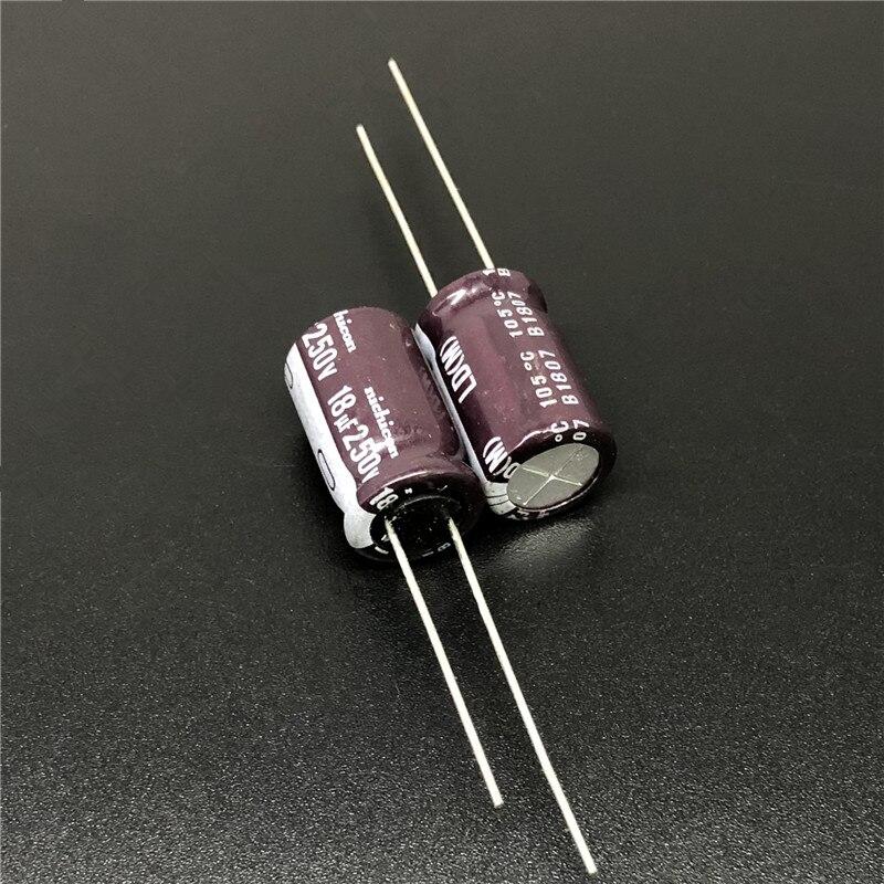 10pcs/100pcs 18uF 250V NICHICON LD 10x16mm High Ripple Current Long Life 20000 Hour 250V18uF Aluminum Electrolytic Capacitor