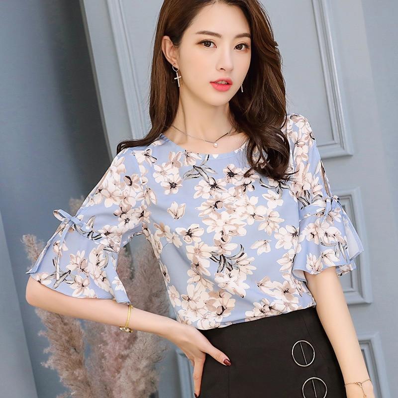 New Women Elegant Print Shirt Korean Slim Casual Chiffon Blouse Summer 2018 Fashion Streetwear Lace Up Women Clothes Women Tops