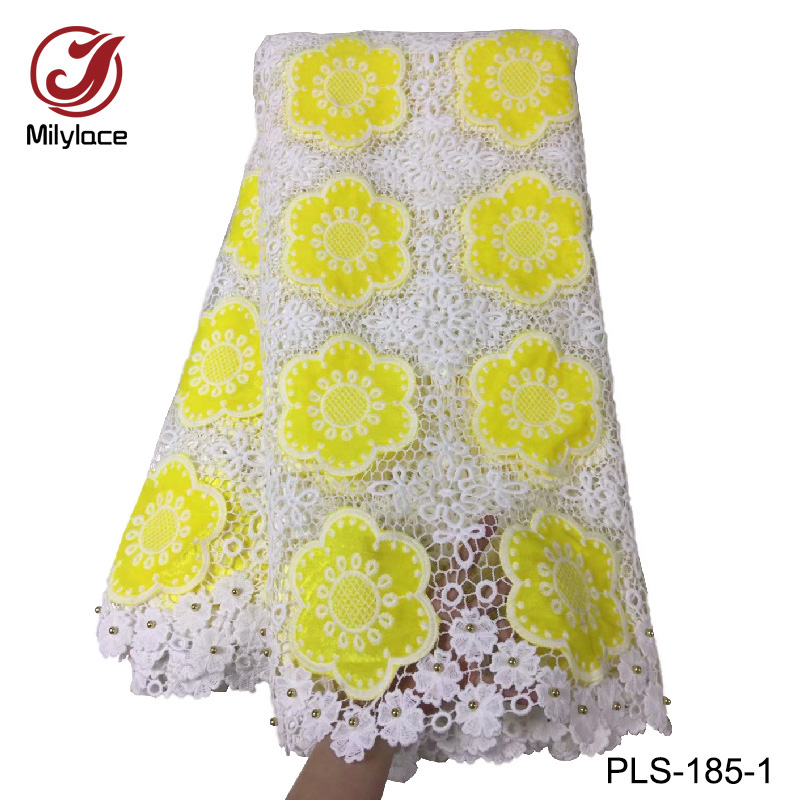 2018 new coming african guipure lace fabric with beads design double color fashionable guipure lace fabric
