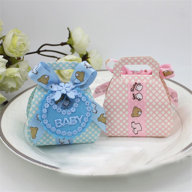 Lovely Candy Bag Birthday Pink Blue Baby Kid Boy Girl Decoration Baptism Baby Shower Paper Favors Gift Box For Guest