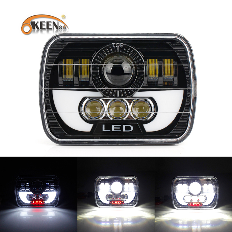 OKEEN Car Led Headlights White Head Lamp DRL With High Low Beam Spot Flood Led Work Light For Jeep Wrangler Yj Cherokee Xj Truck