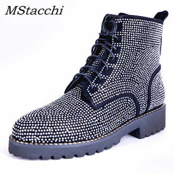 MStacchi Fashion Rhinestone Shoes Woman Punk Style Cow Suede Ankle Boots For Women Round Toe Autumn Winter Boots Big Size 33-43 - DISCOUNT ITEM  45% OFF All Category