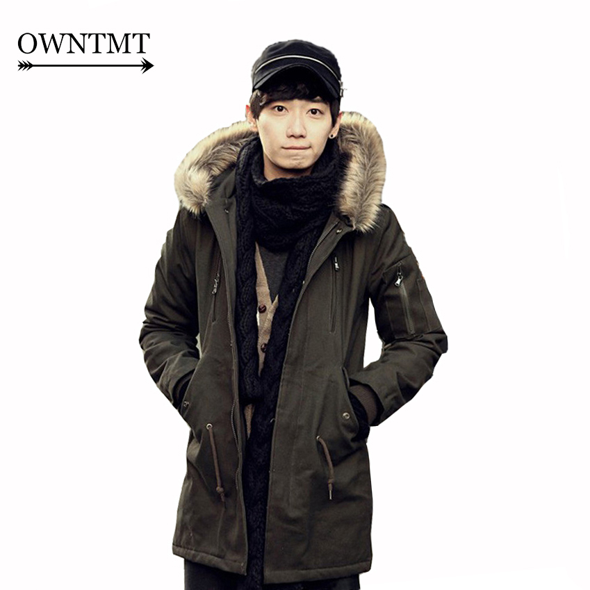 Man Solid Long Hooded Trench Coat 2017 Men Winter Warm Slim Trench Jackets Man Korean Style Slim Outerwear Coat With Fur Collar