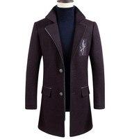 Бренд Для мужчин Костюмы Новое поступление Для мужчин Повседневное Шерстяное пальто в британском стиле тонкие длинные шерстяные пальто ше