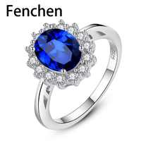 Fenchen New Gemston Fine Jewelry Princess Diana William Kate Created Sapphire Wedding Engagement 925 Silver Ring for Women AR002