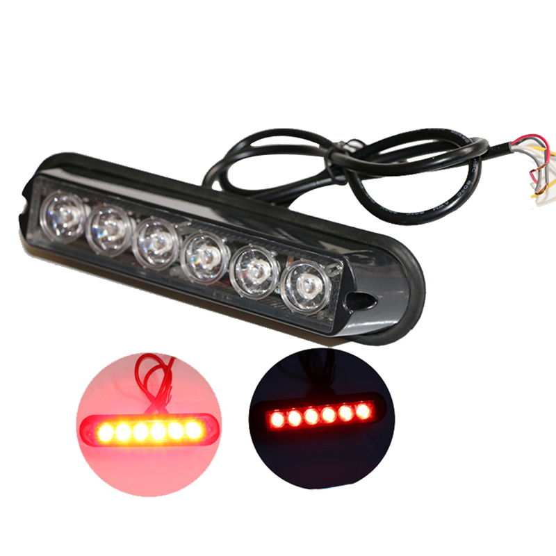 1 Pcs 6W Car Grill Light Strobe Warning 12V 24V Flash Lamp Red