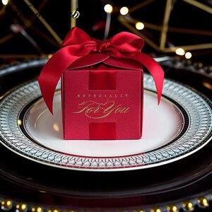 Image 2 - 20 قطعة هدايا الزفاف الإبداعية هدية صندوق حلوى مربع للتعميد استحمام الطفل حفلة عيد ميلاد لوازم التفاف مع الشريط