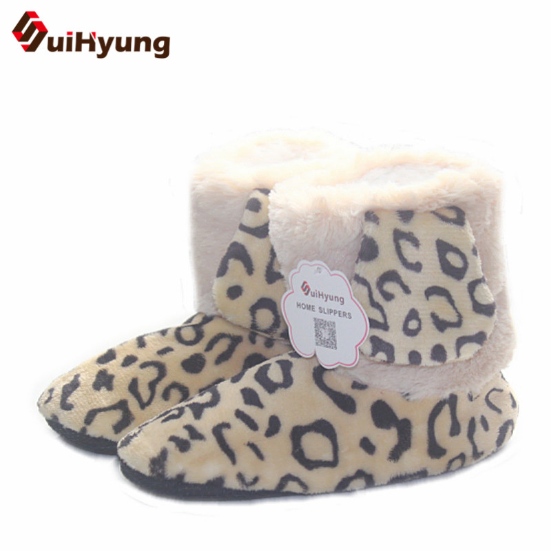 цена на New Women's Winter High-top Cotton Shoes Leopard Pattern Indoor Shoes Warm Plush Soft Floor anti-slip Indoor Boots Floor Shoes