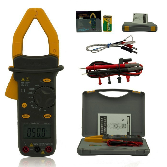 MS2101 1000A Digital AC DC Current Voltage Clamp Meter 4000 Counts Multimeter Capacitance Temp Frequency HZ Tester mastech ms2138 ac dc digital clamp meter 1000a multimeter electrical current 4000 counts voltage tester