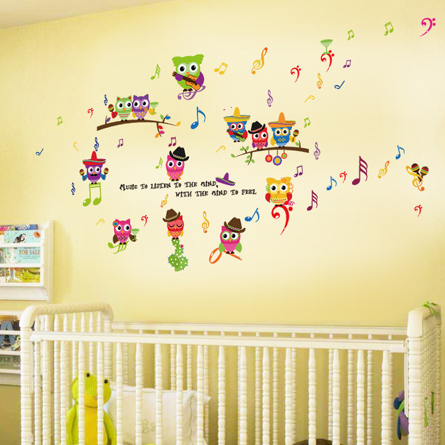 Cute Music Owl Wall Stickers For Kids Rooms Baby Bedroom Home Decor ...